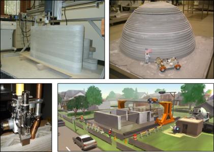 """Prototype de l'imprimante 3D de construction """"Contour Crafting"""" (source : http://www.contourcrafting.org/)"""